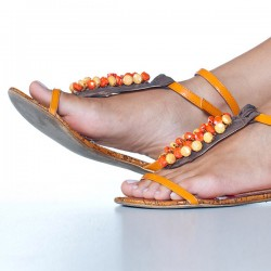 Jeweled Leather Flat Sandals